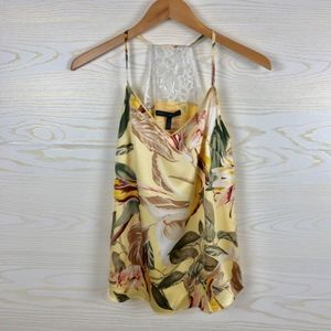 WHBM Floral Satin Look Lace Back Cami Top
